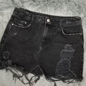 Zara sz M distressed mini skirt button fly